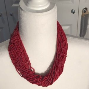 Jewelry - ⭐️ 2/$15*  Deep Red Beaded Necklace
